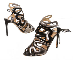 Alexandre Birman Black Suede and Silver Embossed Caged Sandals (Size 38.5)