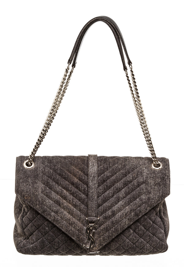 Saint Laurent Large Dark Gray Denim Quilted Shoulder Bag