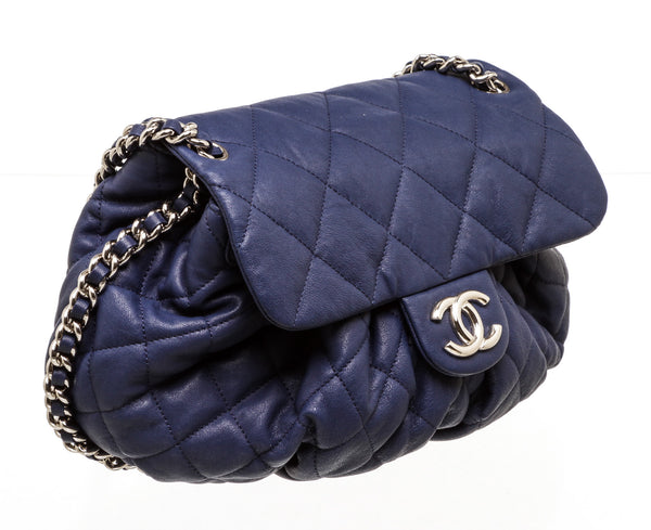Chanel Blue Leather Medium Chain Around Crossbody Bag