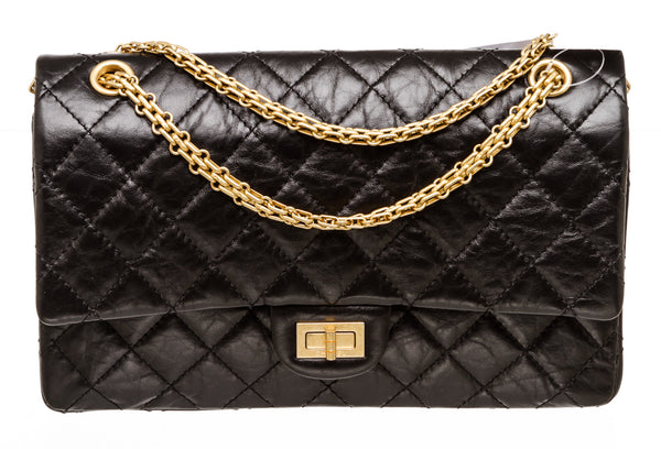 Chanel Reissue Black Jumbo Double Flap Aged Leather 2.55 Matt Gold Hardware