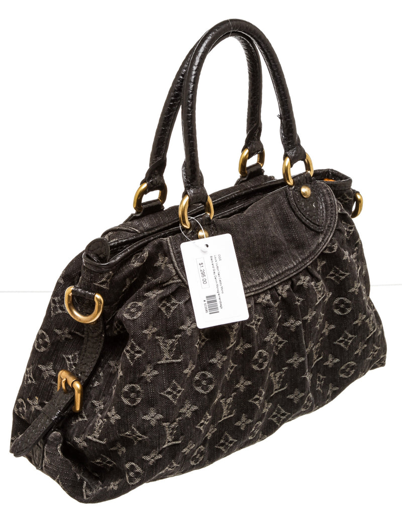 Louis Vuitton Neo Cabby Black & Gray Monogram Denim Handbag