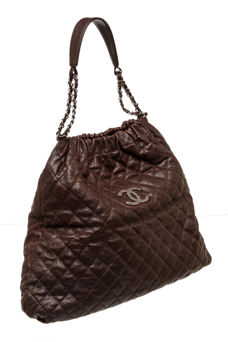 Chanel Brown Caviar Quilted Leather Hobo Bag