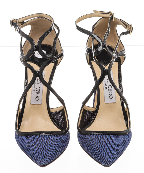 Jimmy Choo Blue Mesh and Patent Lancer Pointy-Toe Pump (Size 38)
