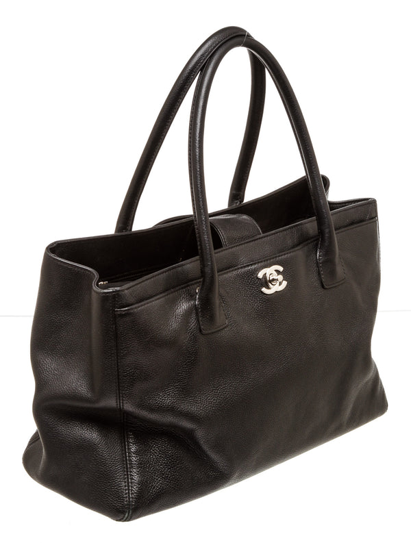 Chanel Black Leather Cerf Executive Tote Silver Hardware