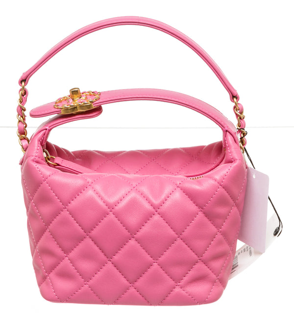 Chanel Pink Leather Mini Hobo Twist Lock Gold Hardware