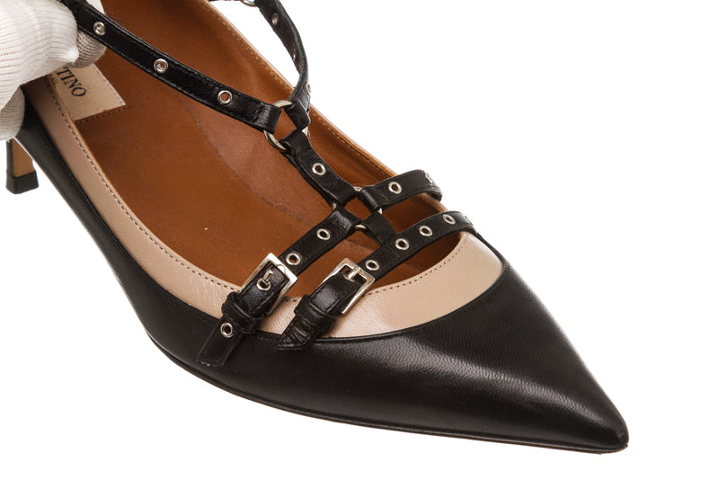 Valentino Black Leather 'Love Latch' Pump (Size 39)