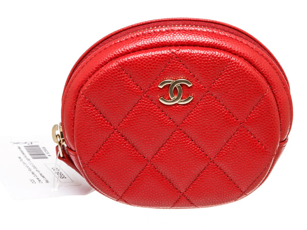 Chanel Round Red Quilted Leather Coin Purse