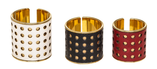 Louis Vuitton 3 Skin Ring Set Metal & Leather