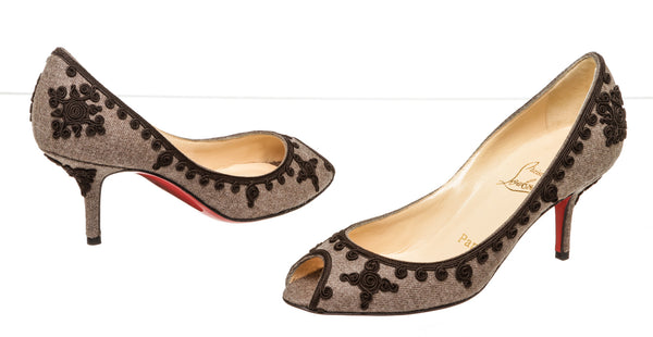 Christian Louboutin Gray & Black Applique Peep Toe Low Heels (36.5)