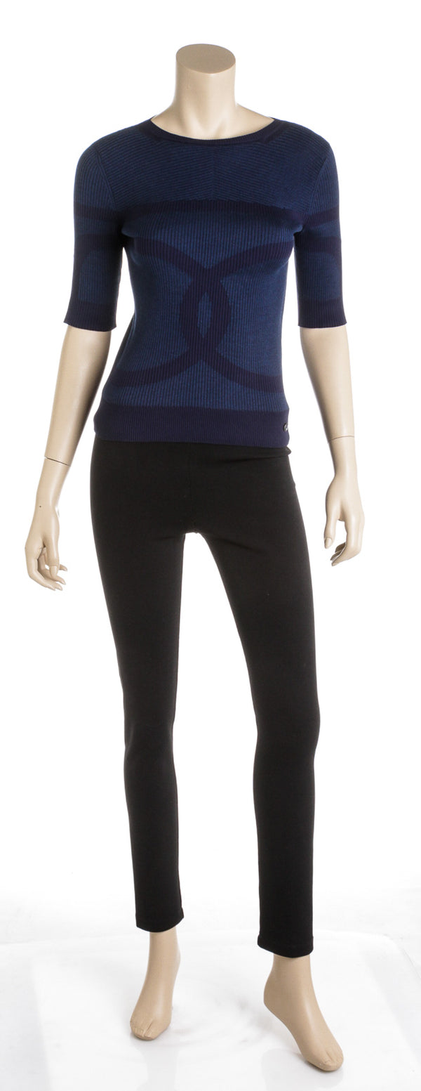 Chanel Navy Blue Ribbed Knit Top (Size 36)