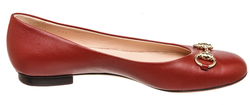 Gucci Red Leather Horsebit Ballet Flats (Size 38)