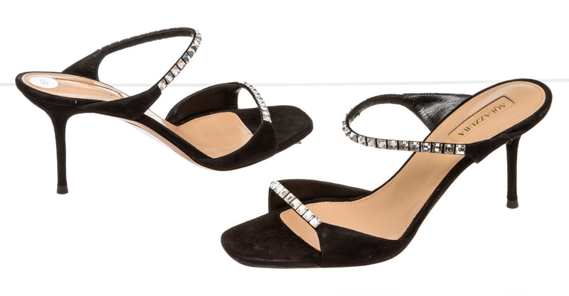 Aquazzura Black Diamante Mules ( Size 37 )