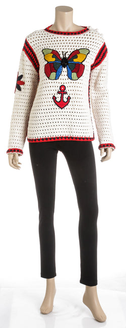 Gucci Multicolor Knit Long Sleeve S/S 06 Butterfly Sweater (Size XS)