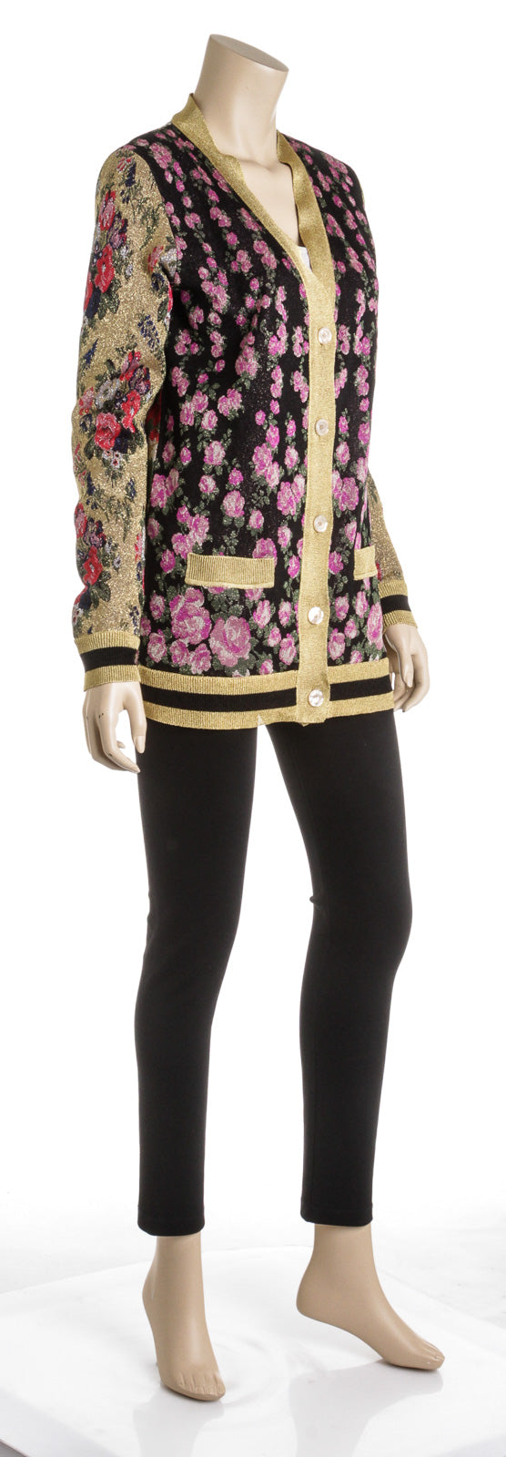 Gucci Patchwork Shiny Jacquard Reversible Cardigan (Size XS)