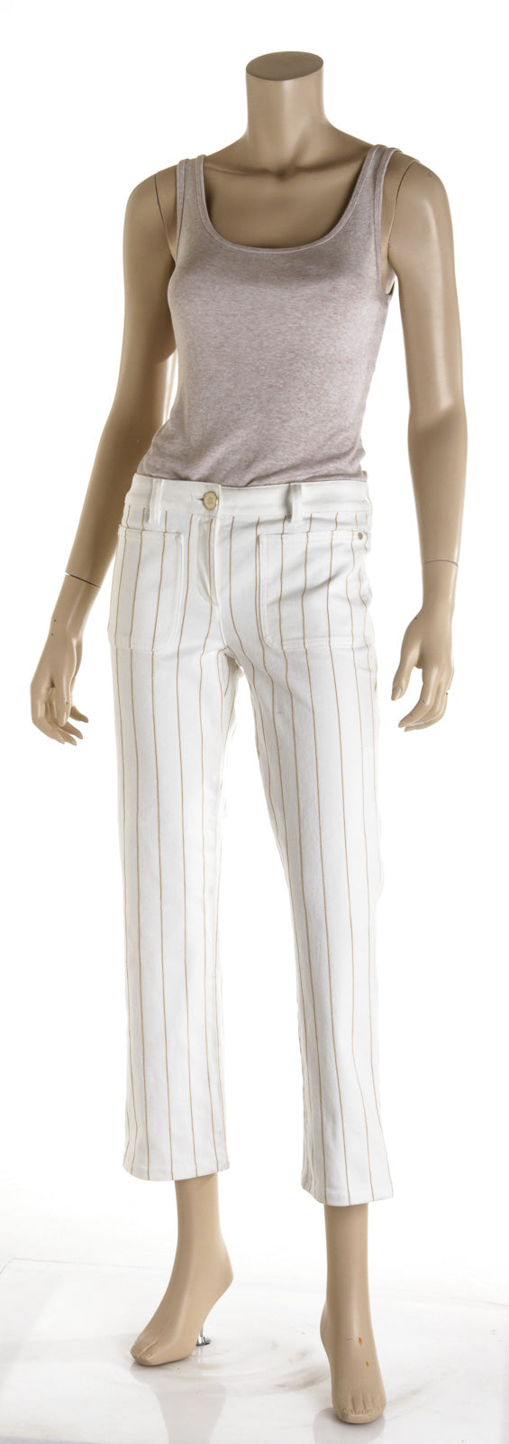 Chanel Metallic Gold Stipe White Jeans (Size 38)