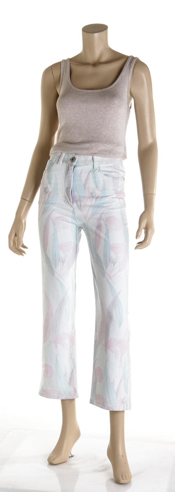 Chanel Pastel Floral White 2020 Jeans( Size 34 )