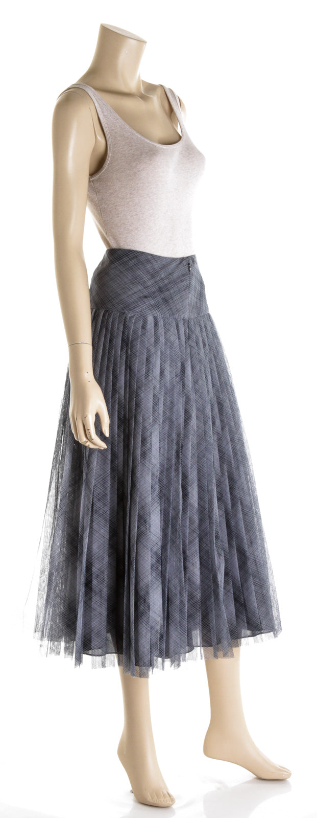 Christian Dior Blue Sheer Plumetis Tulle Midi Skirt (36)