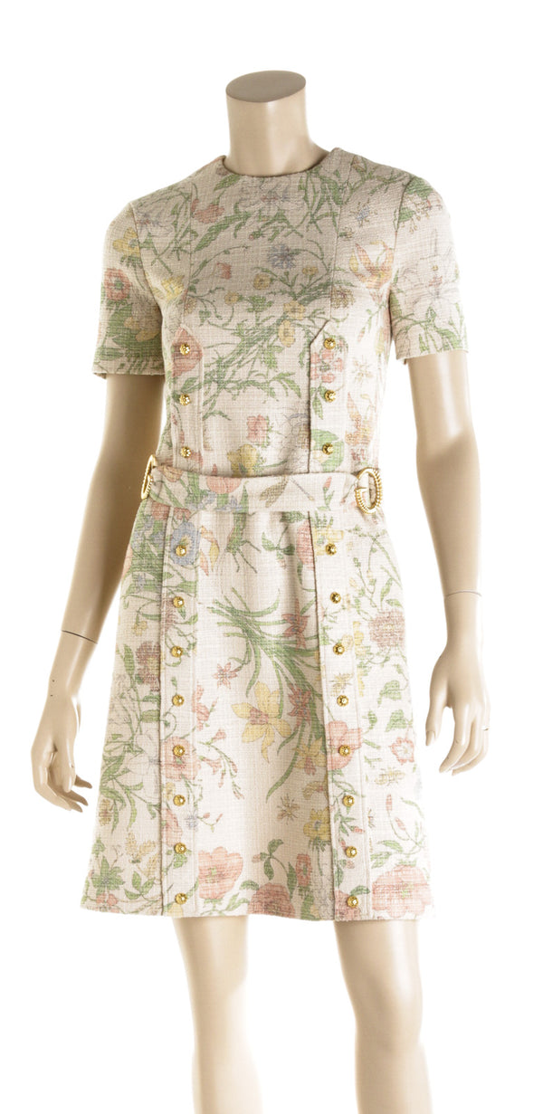 Gucci Tan Floral Short Sleeved Belted Dress ( Size 36)