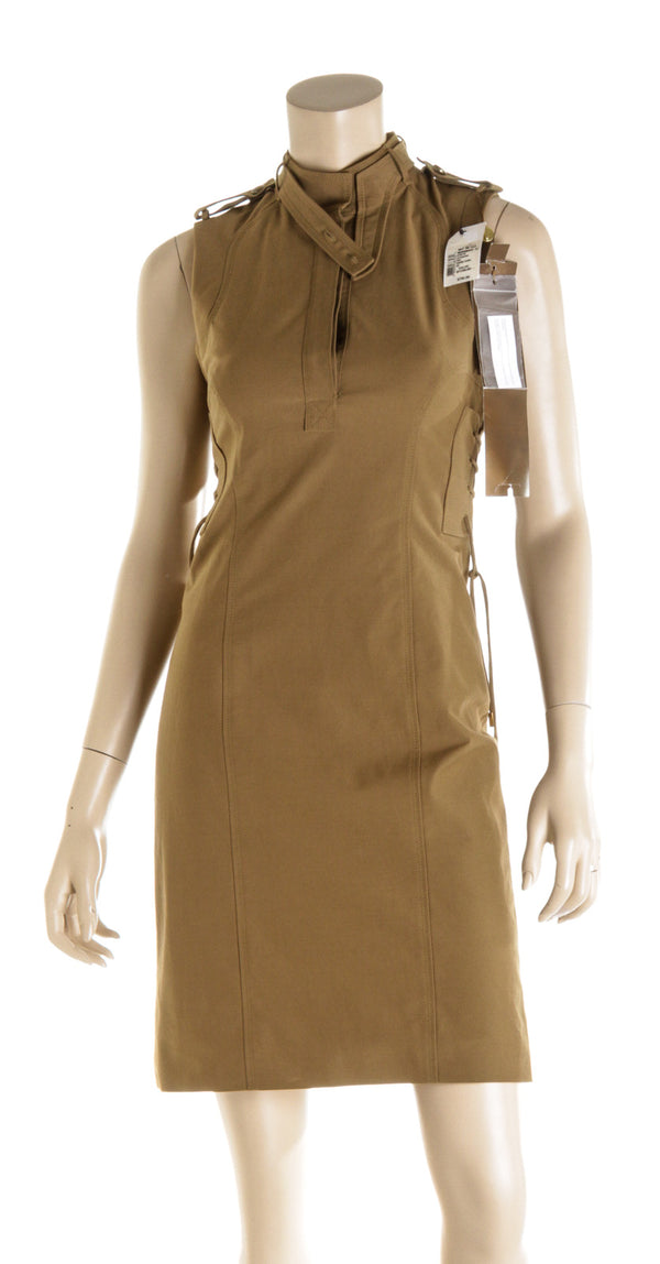 Gucci Khaki Sleeveless Dress ( Size 40 )