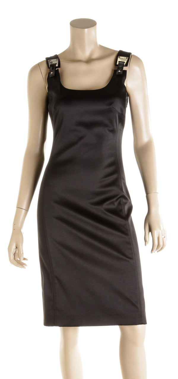 Versace Black Satin Silver Strap Buckle Dress ( Size 38 )