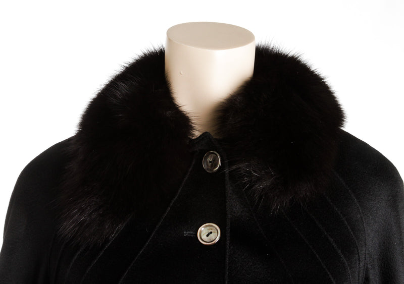 Christian Dior Black Cashmere Fur Collar Jacket ( Size 42)