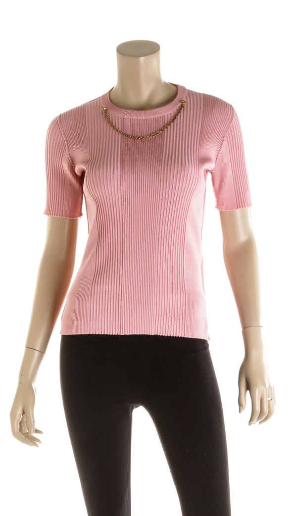 Givenchy Pink Knitwear Top Gold Detailing ( Size M )