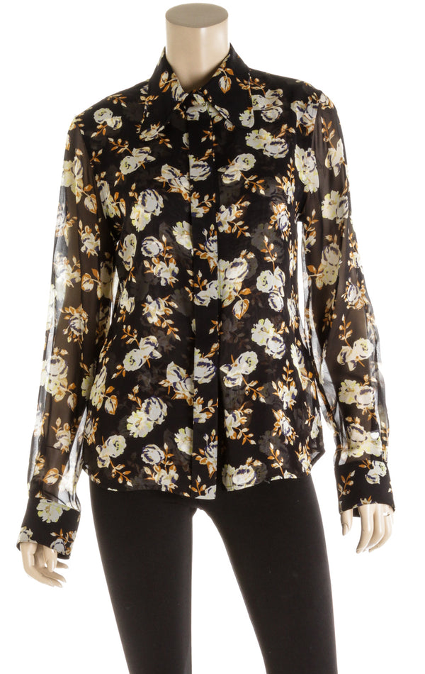 Victoria Beckham Black Long Sleeve Floral Blouse (Size 12)