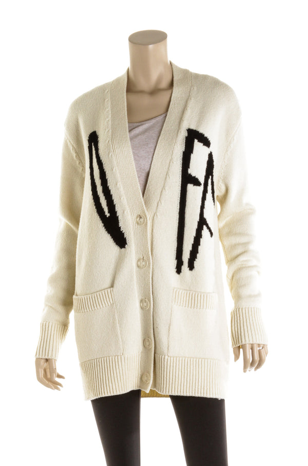 Off-White Cream & Black Varsity Cardigan With Logo ( Size 40 )