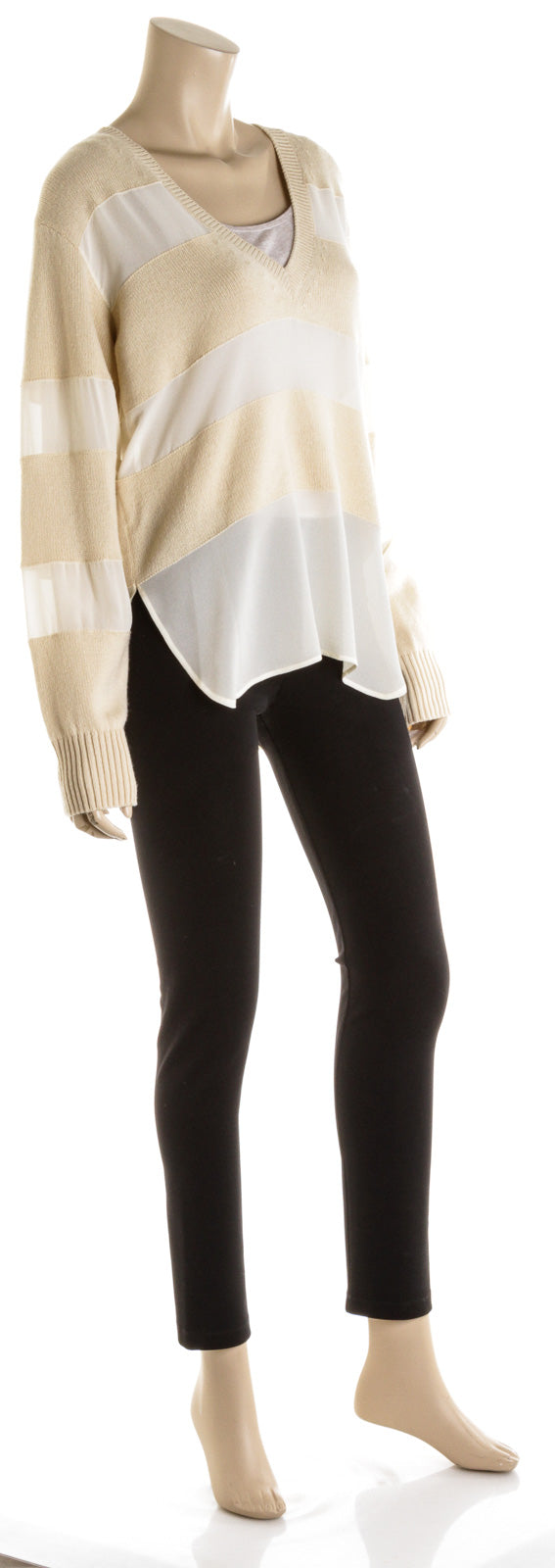 Chloe Silk & Knit Cream & White Stripe Long Sleeve Sweater ( Medium )