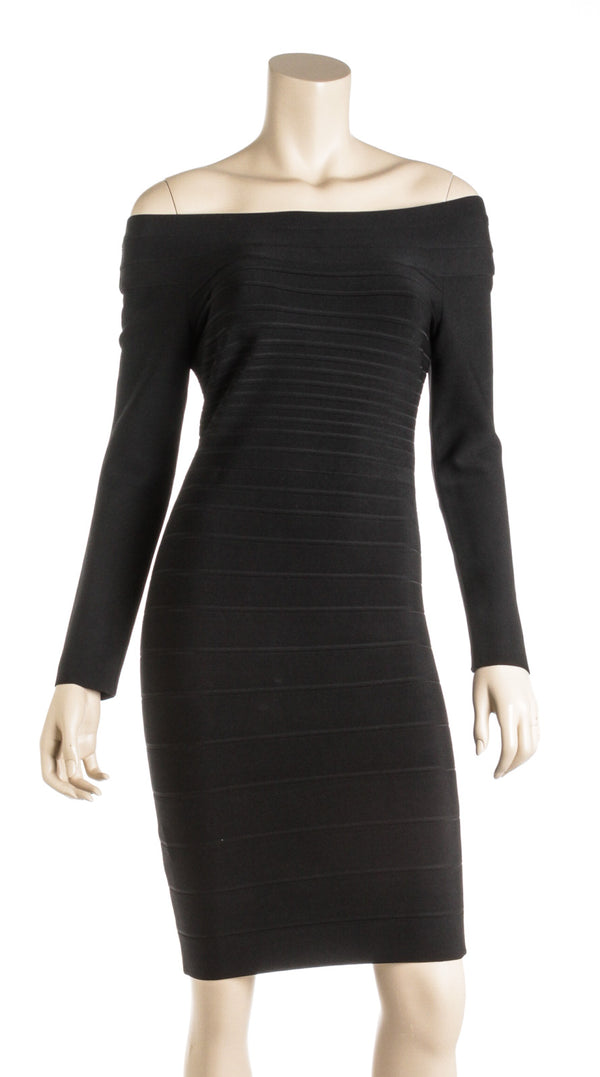 Herve Leger Black Bandage Dress (M)