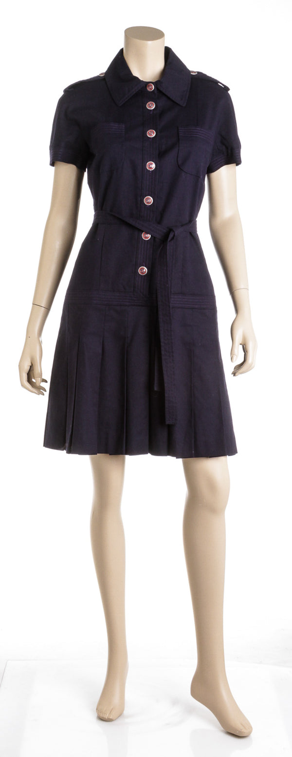 Chanel Navy Blue Cotton Short Sleeve Sailor Dress (Size 40)