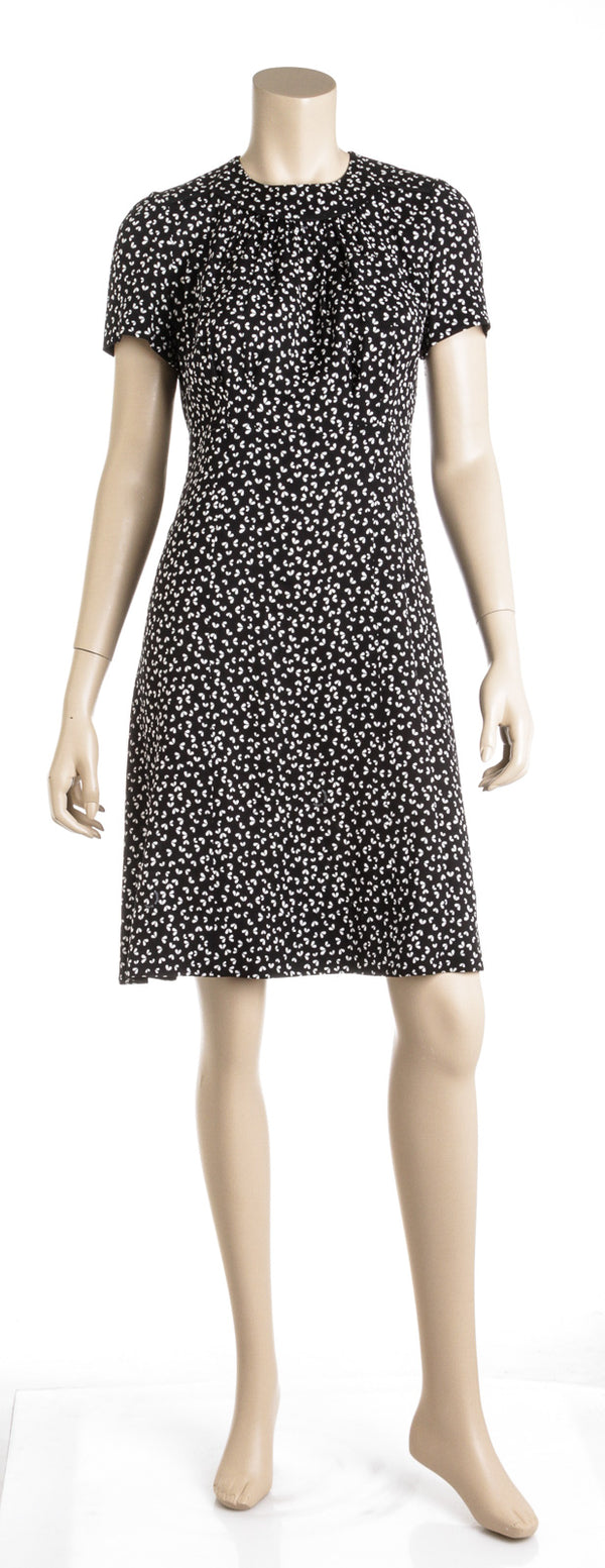 Louis Vuitton Black and White Print Silk Dress (38)