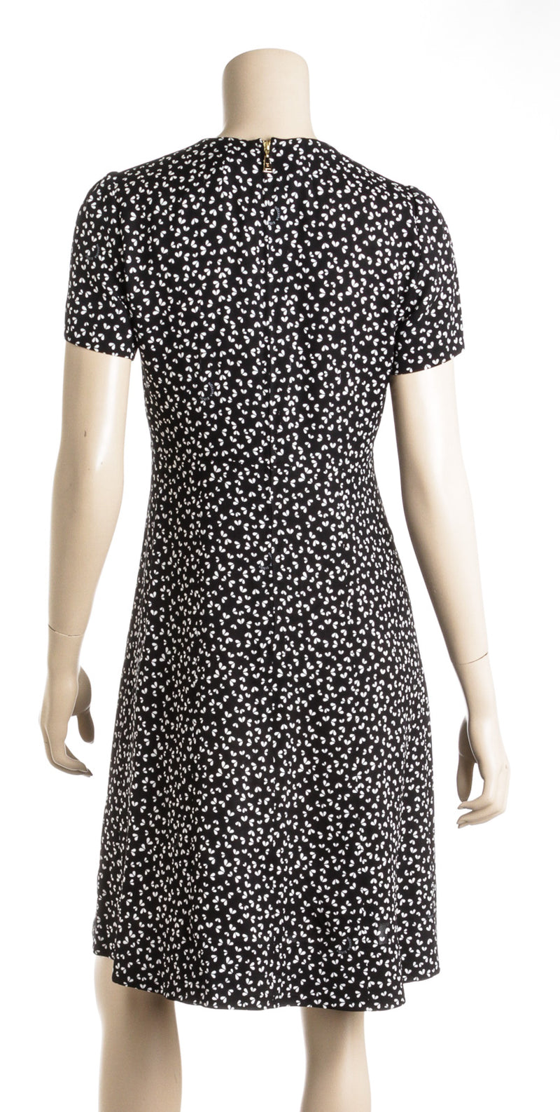Louis Vuitton Black and White Print Silk Dress (Size 38)