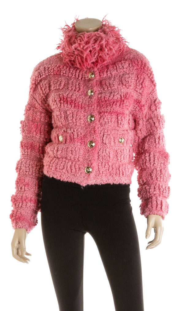 Chanel Pink Wool Pullover Jacket ( Size 34 )