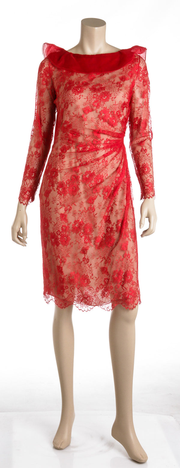 Valentino red silk long sleeve lace dress (10)