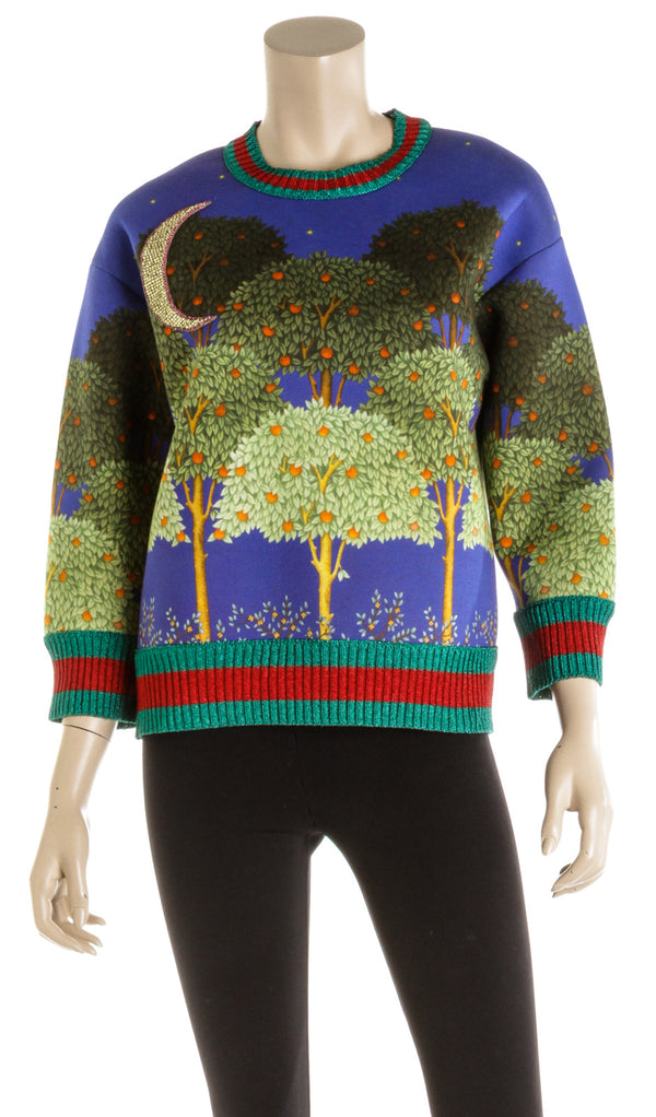 Gucci Multicolored Neoprene Night Sky Garden Sweater ( Size XS )
