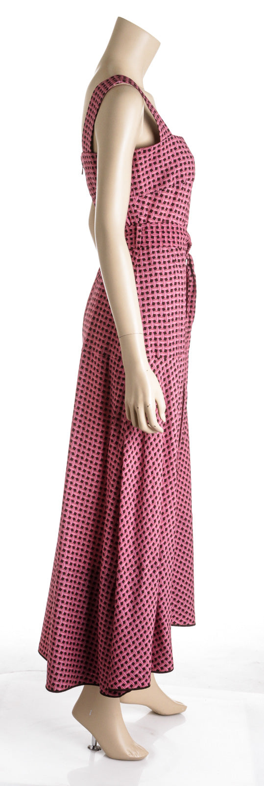 Louis Vuitton Pink and Brown Print Belted Sundress (Size 38)