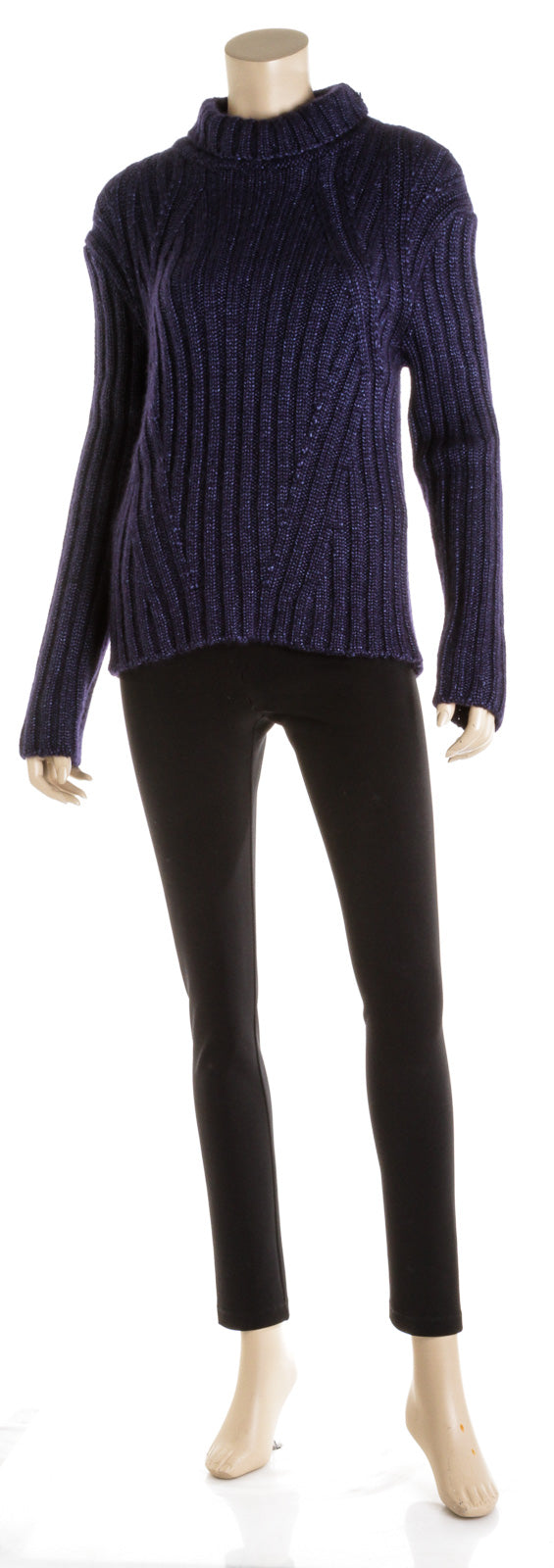 Tom Ford Navy Blue Mohair & Cashmere Turtleneck ( Size L )