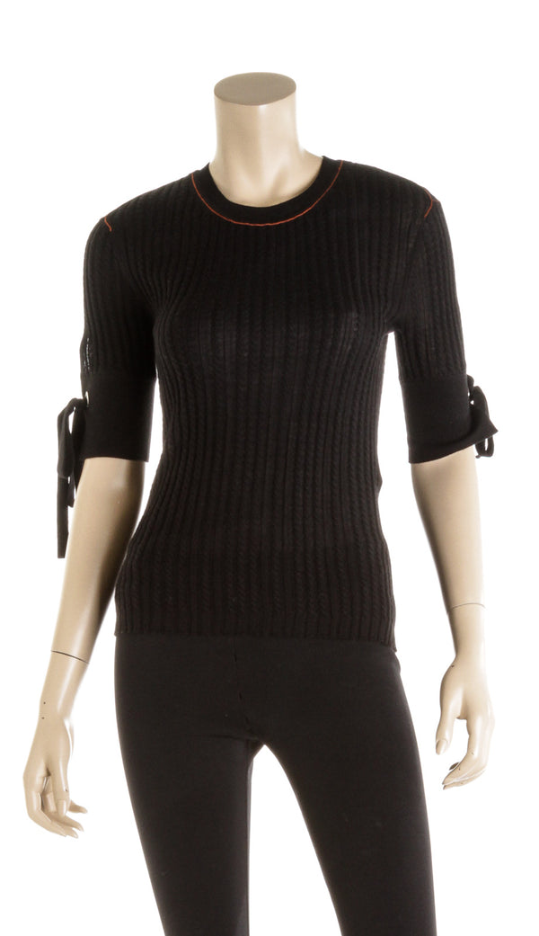 Chloe Black with Red Stripe Rib Knit Sweater ( Size XS )