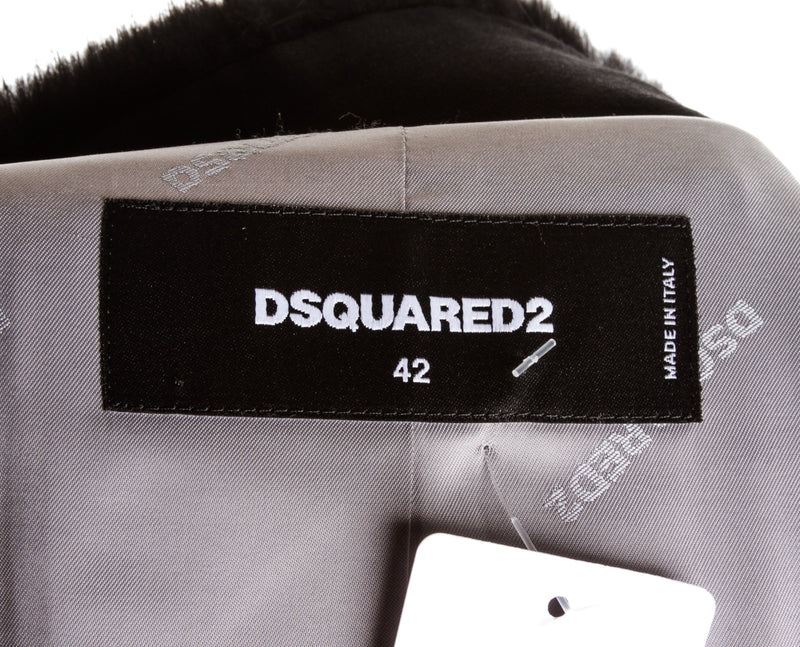 DSquared2 Black 3d Shapes Fur Neck Coat ( Size 42 )
