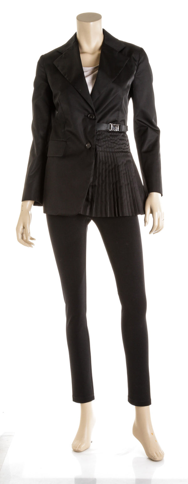Prada Black Single Breasted Garbadine Nylon Pleated Jacket (Size 38)