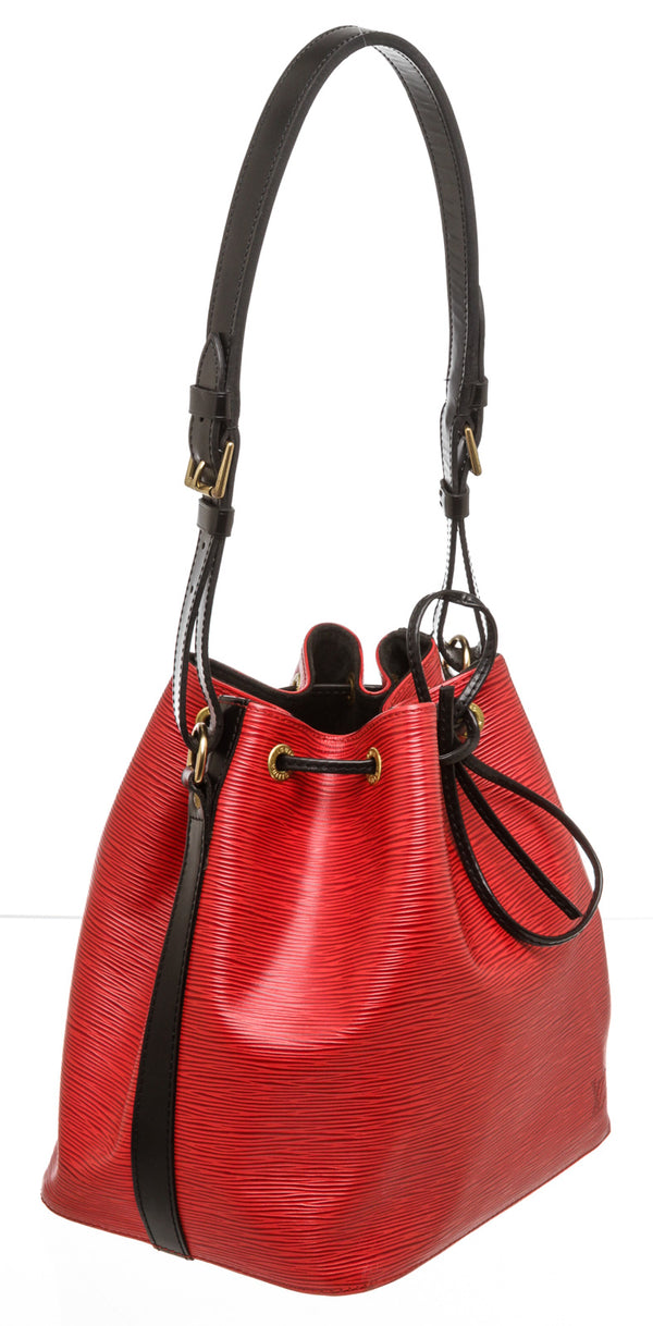 Louis Vuitton Red and Black Epi Noe Petite Bucket Bag