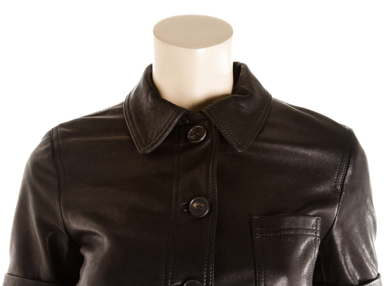 Christian Dior Black Short Sleeved Leather Jacket ( Size 34 )