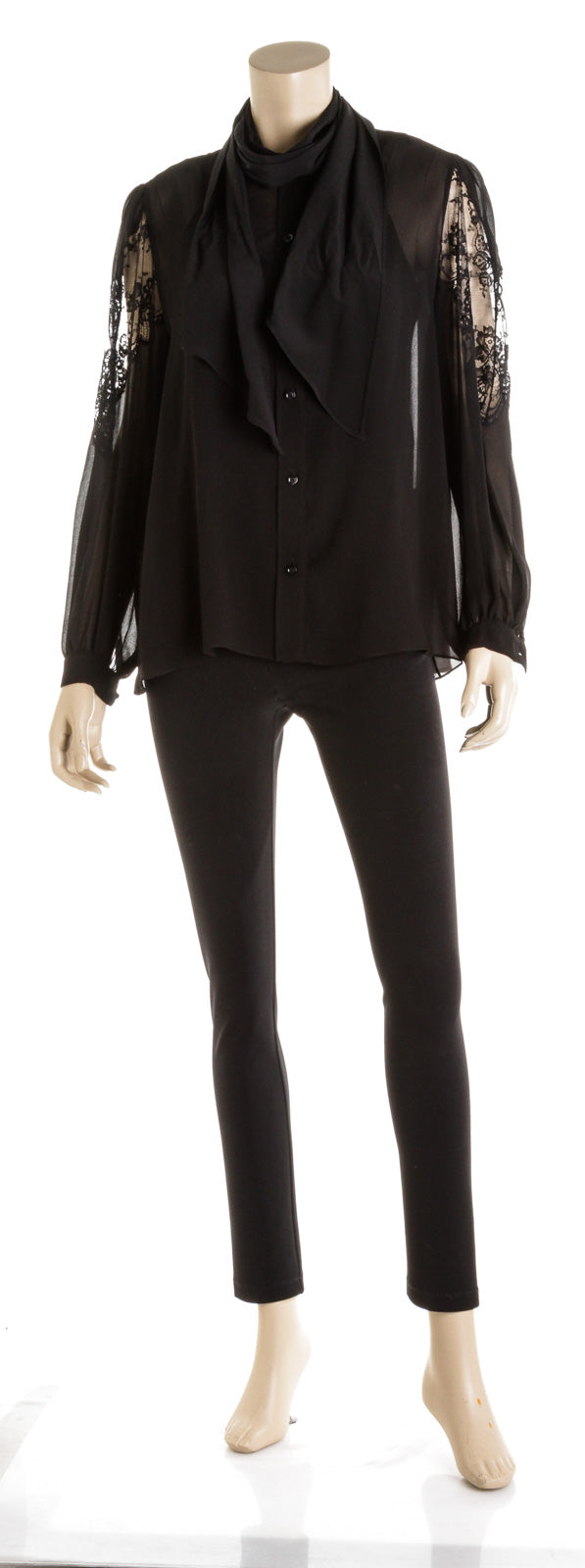 Givenchy Black Silk & Lace Scarf Collar Blouse ( Size 36 )
