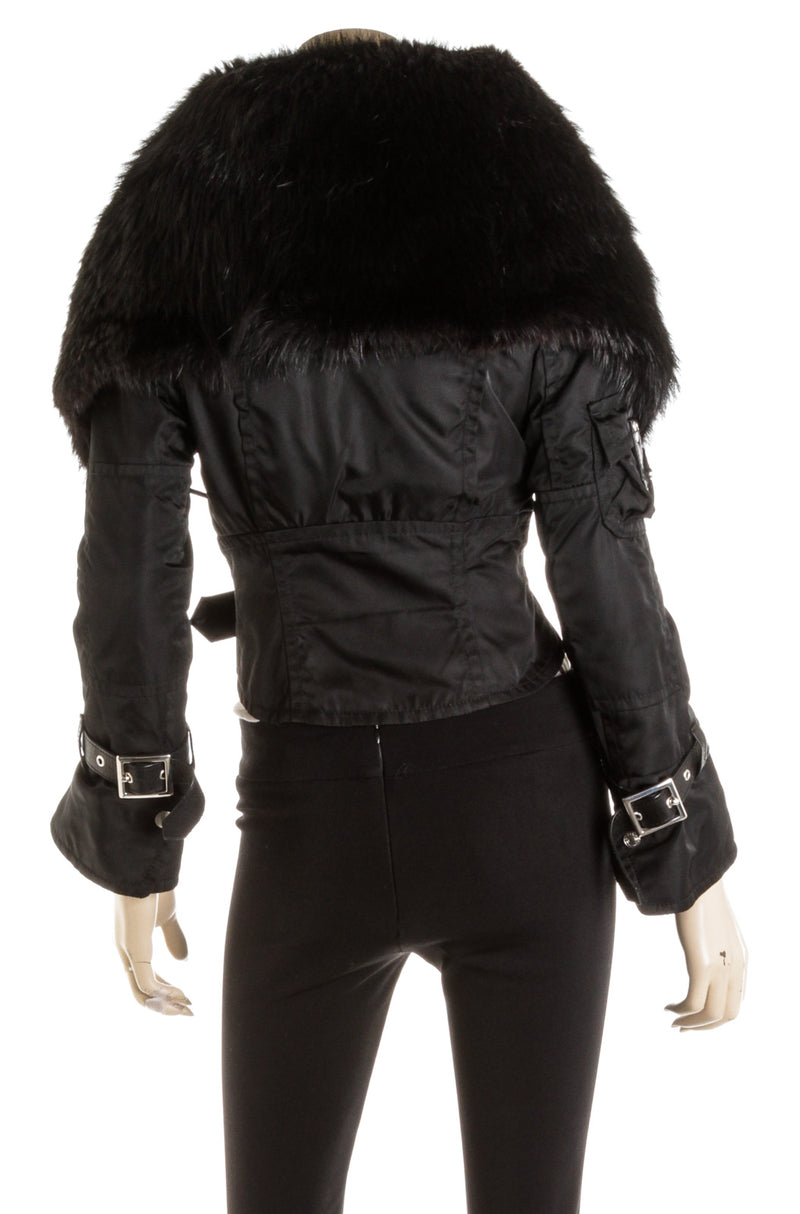 DSquared2 Black Zippered Jacket Fur Collar (Size 42)