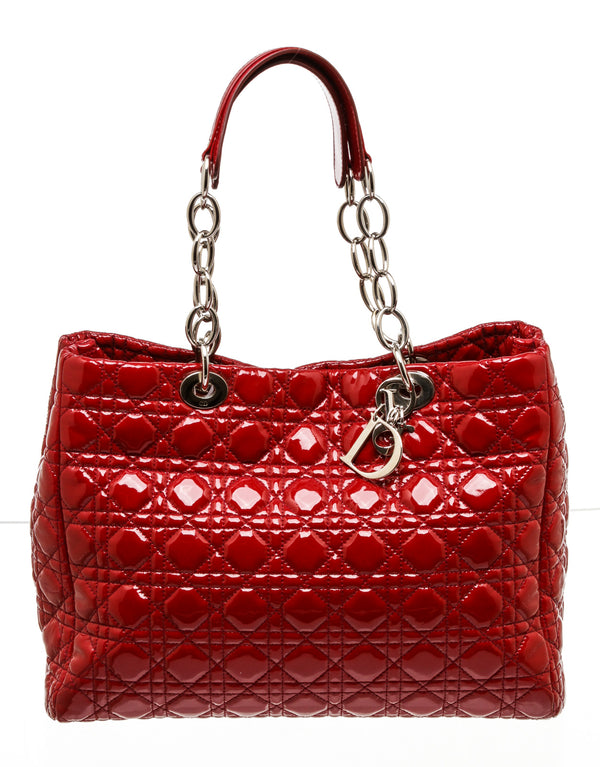 Dior Red Patent Leather Lady Cannage Tote