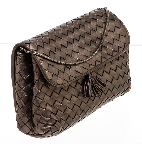 Bottega Veneta Pewter Intrecciato Nappa  Expandable Chain Crossbody Bag