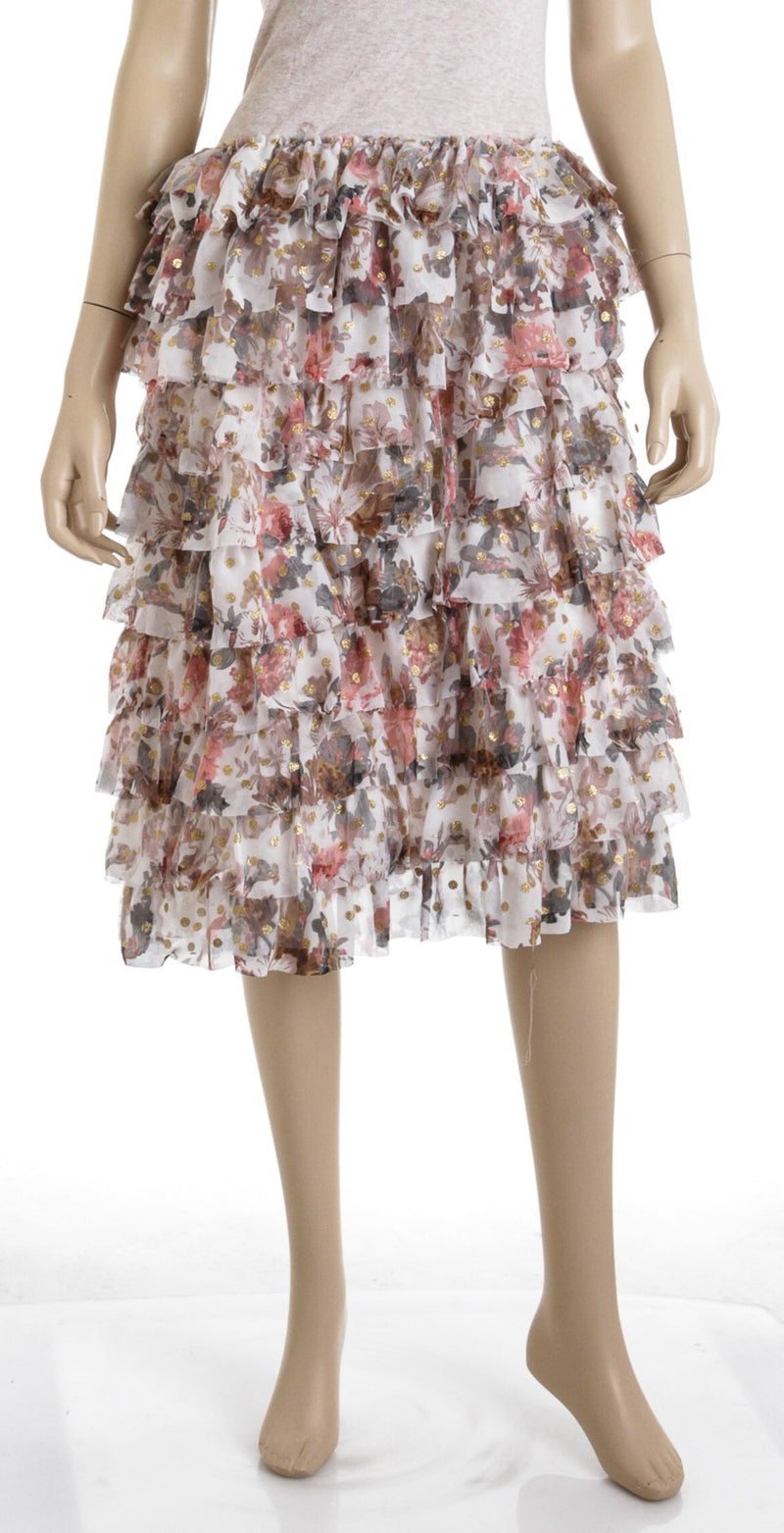 L'Atiste Floral Ruffle Mini Skirt (Size S)