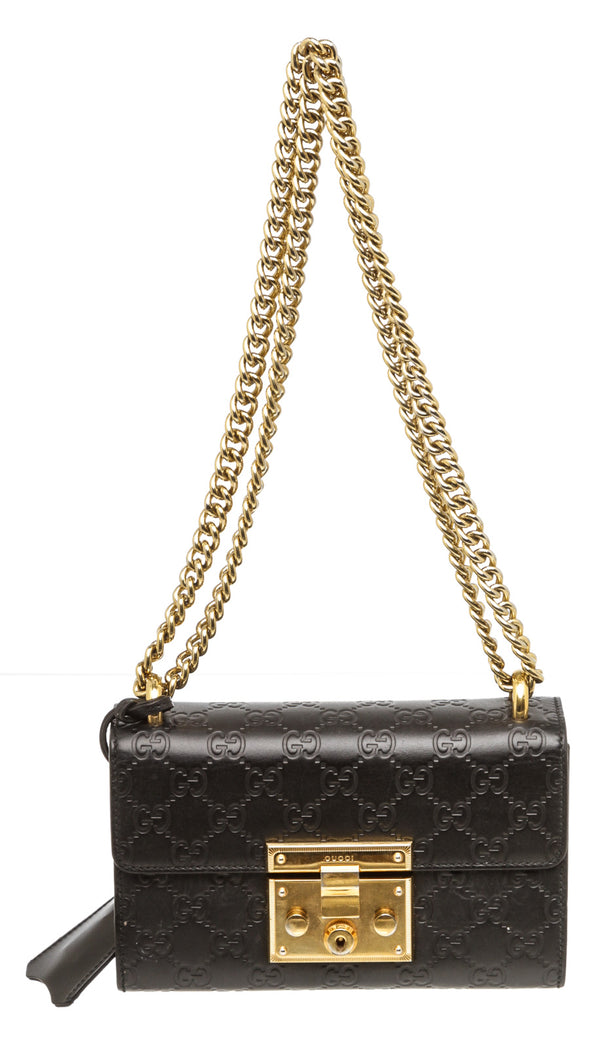 Gucci Black Guccissima Small Padlock Bag