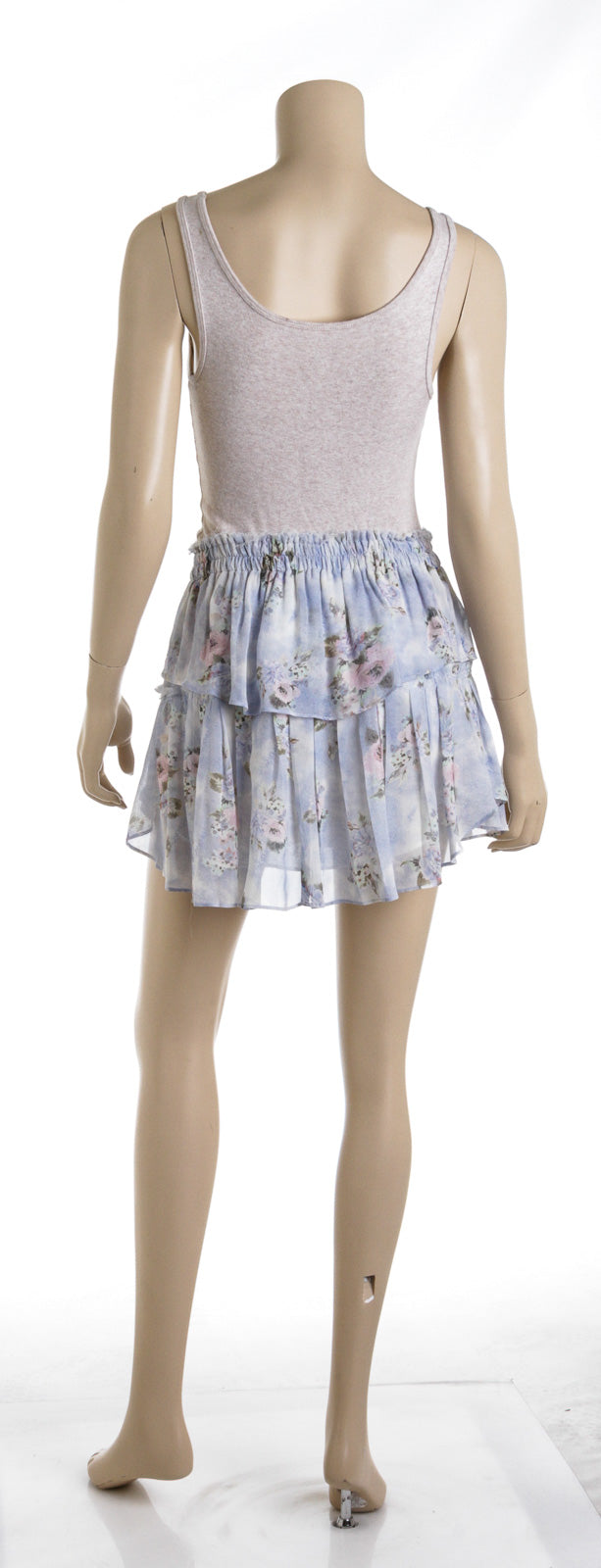 LoveshackFancy Floral Blue Silk Mini Ruffle Skirt (Size XS)
